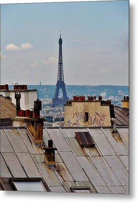 Rooftops Of Paris And Eiffel Tower Metal Print by Marilyn Dunlap