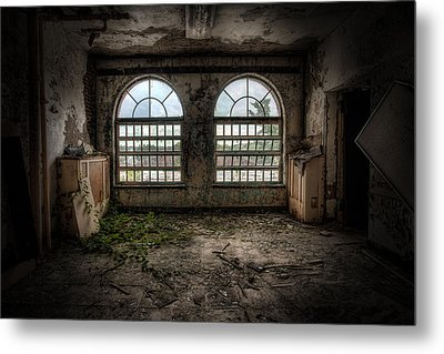 Room With Two Arched Windows Metal Print by Gary Heller