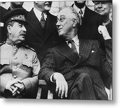 Roosevelt And Stalin Metal Print by Underwood Archives