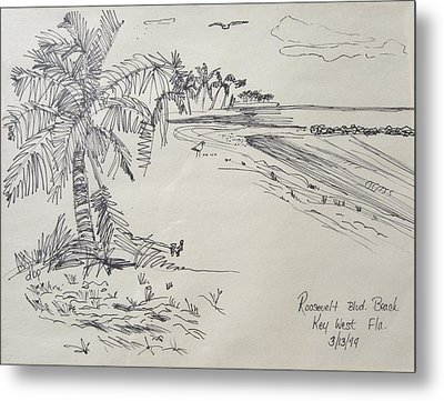 Roosevelt Blvd Beach  Key West Fla Metal Print