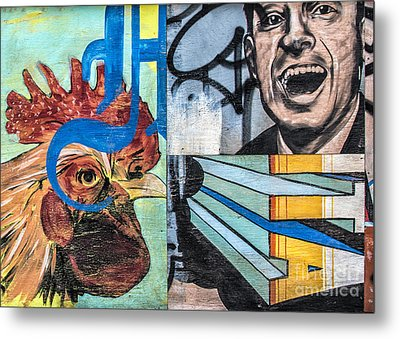 Rooster And Man Graffiti Metal Print by Terry Rowe