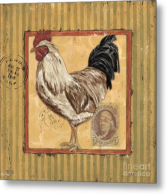 Rooster And Stripes Metal Print by Debbie DeWitt
