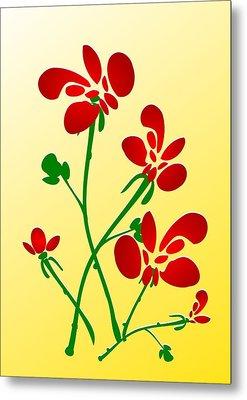 Rooster Flowers Metal Print