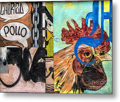 Metal Print featuring the mixed media Rooster Graffiti by Terry Rowe