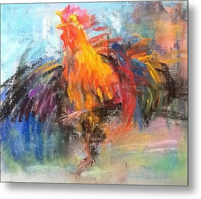 Metal Print featuring the painting Rooster by Jieming Wang