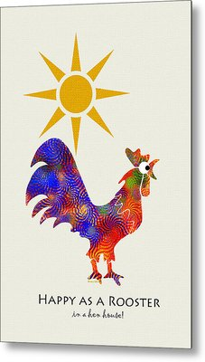 Rooster Pattern Art Metal Print by Christina Rollo