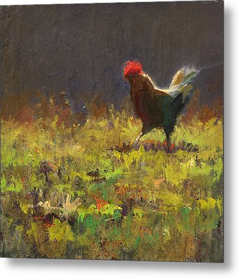 Rooster Strut Metal Print by Karen Whitworth