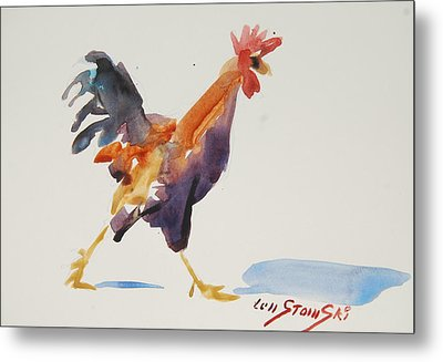 Rooster Study 2 Metal Print by Len Stomski