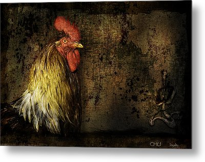 Metal Print featuring the mixed media Rooster With Brush Calligraphy Loyalty by Peter v Quenter