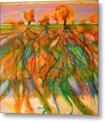 Metal Print featuring the painting Roots by Mary Schiros
