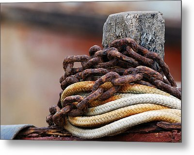 Metal Print featuring the photograph Rope And Chain by Wendy Wilton