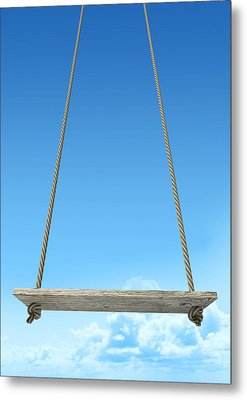 Rope Swing With Blue Sky Metal Print by Allan Swart