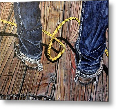 Roping Boots Metal Print by Marilyn  McNish