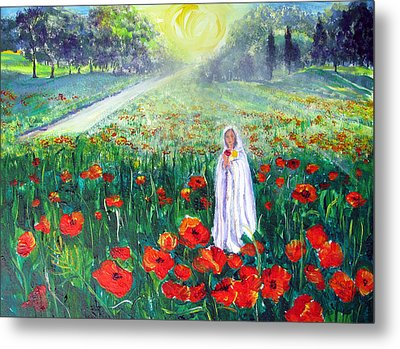 Rosa Mistica With Poppies Metal Print