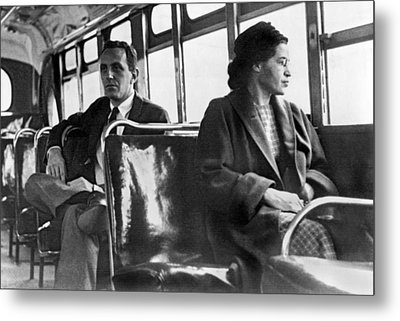 Rosa Parks On Bus Metal Print by Underwood Archives