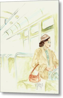 Rosa Parks Rides Metal Print by P J Lewis
