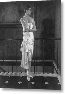 Rosalind Stair Wearing A Patou Dress Metal Print