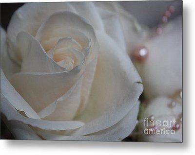 Rose And Pearls Metal Print by Nancy TeWinkel Lauren