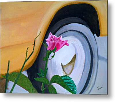 Metal Print featuring the painting Rose At The Curb by Hilda and Jose Garrancho