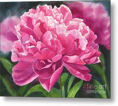 Rose Colored Peony Blossom Metal Print by Sharon Freeman