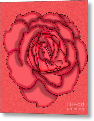 Rose Drawing Metal Print by Christine Perry