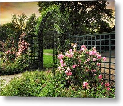 Rose Garden Gate Metal Print