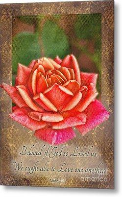 Rose Greeting Card With Verse Metal Print by Debbie Portwood