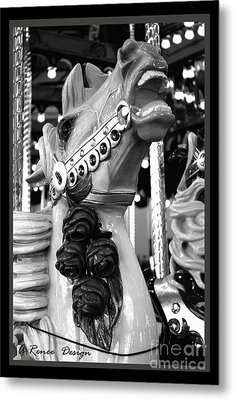 Rose Horse In Black And White Metal Print