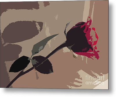 Rose In Abstract Digital Painting Metal Print by Minding My  Visions by Adri and Ray