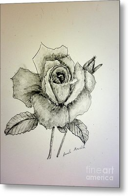 Rose In Monotone Metal Print