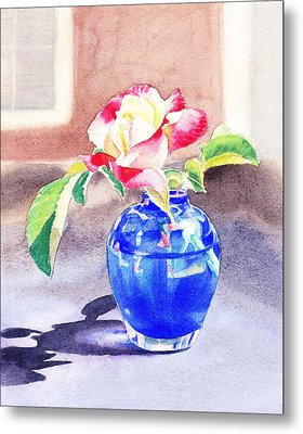 Rose In The Blue Vase  Metal Print by Irina Sztukowski