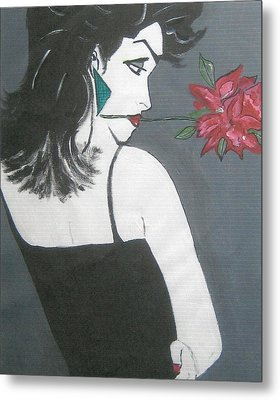 Metal Print featuring the painting Rose Lady by Nora Shepley