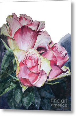 Pink Rose Michelangelo Metal Print by Greta Corens
