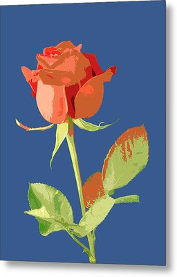 Rose On Blue Metal Print by Mauro Celotti