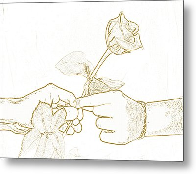 Rose Outline By Jan Marvin Studios Metal Print