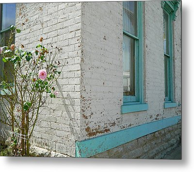 Metal Print featuring the photograph Rose White Blue House by Kathy Barney
