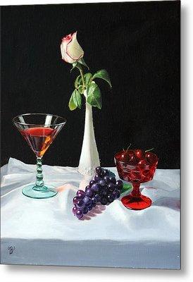 Rose Wine And Fruit Metal Print by Glenn Beasley