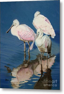 Metal Print featuring the painting Roseate Spoonbill Trio by Jimmie Bartlett