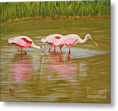 Metal Print featuring the painting Roseatte Spoonbill Party by Jimmie Bartlett