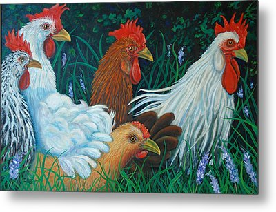 Rosebank Farm Chickens Metal Print by Dwain Ray
