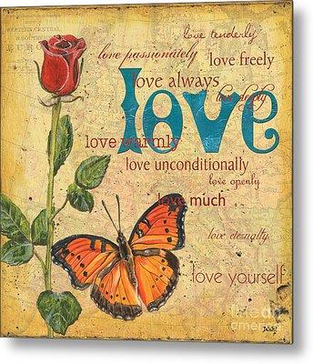 Roses And Butterflies 2 Metal Print
