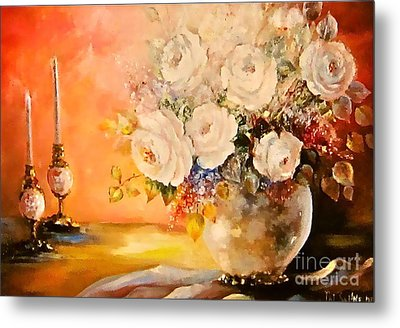 Roses And Candlelight Metal Print by Patricia Schneider Mitchell