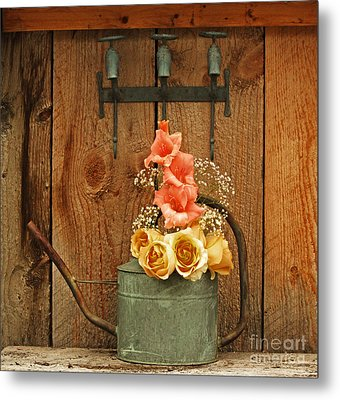 Metal Print featuring the photograph Roses And Gladiolus  by Marjorie Imbeau