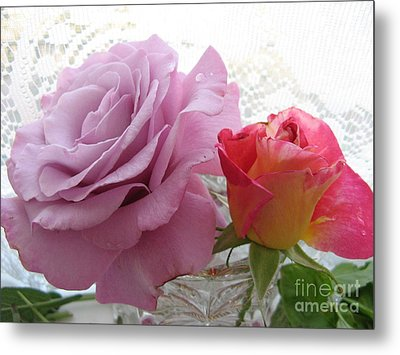 Roses And Lace Metal Print by Marlene Rose Besso