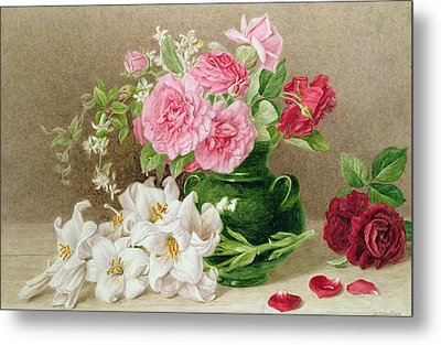 Roses And Lilies Metal Print by Mary Elizabeth Duffield