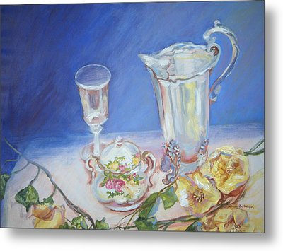 Roses And Tea Metal Print by Patricia Kimsey Bollinger