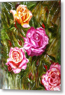 Metal Print featuring the painting Roses by Harsh Malik
