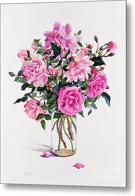 Roses In A Glass Jar  Metal Print