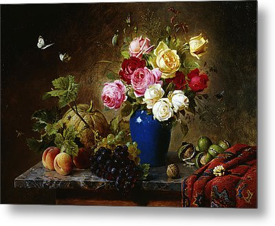 Roses In A Vase Peaches Nuts And A Melon On A Marbled Ledge Metal Print by Olaf August Hermansen