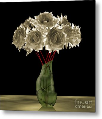 Roses In Green Vase Metal Print by Johnny Hildingsson